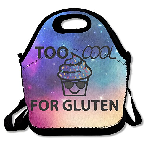 Too Cool For Gluten Free Cupcake Sunglasses Lunch Bag Tote Handbag Lunchbox For School Work Outdoor
