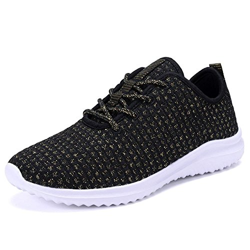 - YILAN Geers Women's YL802 Sneakers Sport Shoes, Black/Gold 6 B(M) US