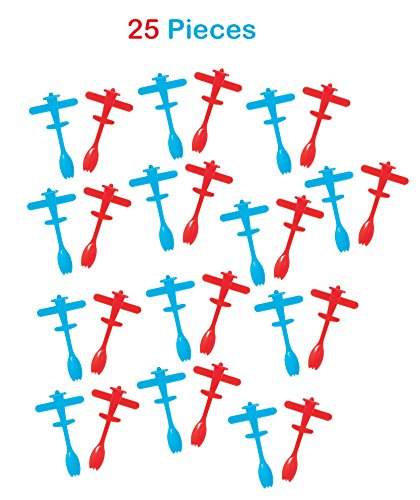 Plastic Airplane Cupcake Toppers With Spoon 3.75 Inches - 25 Pieces – Cute Blue And Red Airplane Cupcake Picks – For Airplane Themed Parties, Birthdays, Decorations, Supplies - By Kidsco (Cupcake Themed Birthday Party)