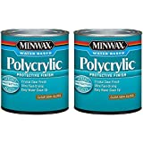 Minwax 64444444 Polycrylic Protective Finish Water Based, Quart, Semi-Gloss 2 Pack