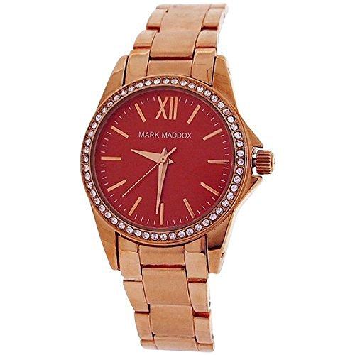 Mark Maddox Ladies Rhinestone Set Bezel Red Dial Bracelet Strap Watch MM3015-77
