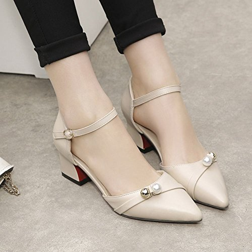 Carolbar Women's Sweet Charm Beaded Mid Heel Buckle Court Shoes Beige dyZbe