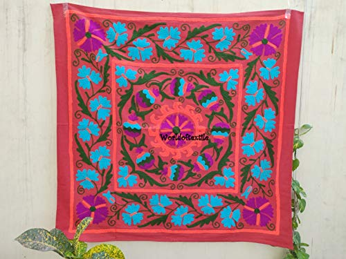 (Worldoftextile Handmade Suzani Embroidered Wall Hanging Suzani Embroidered Table Runner wall hanging Wall Decor Indian mandala)