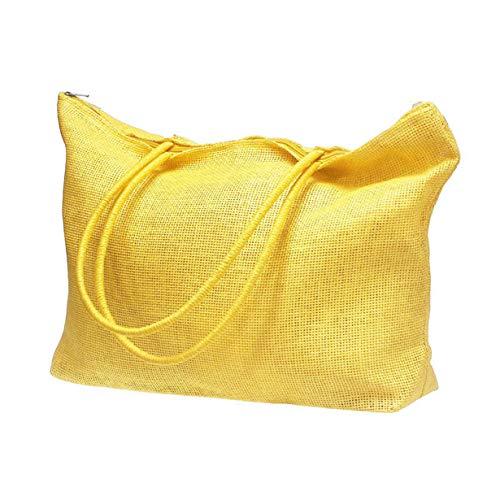 Sunsuit Woven - New in Respctful✿Women Straw Woven Tote Large Beach Handmade Weaving Shoulder Bag Handbag Yellow