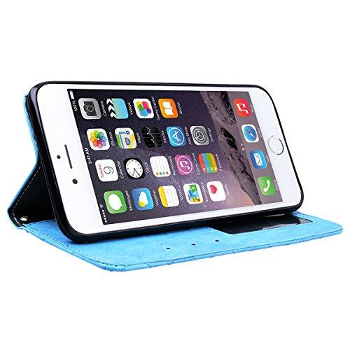 Coque iPhone 6 / iPhone 6S, HB-Int Housse de Protection PU Cuir Portefeuille Case Cover Etui a Rabat Flip Antichoc Cas Couverture pour Apple iPhone 6 / iPhone 6S - Bleu