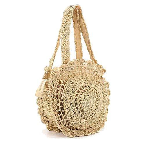 Femmes d'été rondes plage de paille sac à main sac crochet Belge