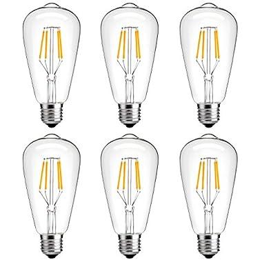Antique LED Bulb, Oak Leaf 4w ST64 Vintage Edison Light Bulb LED Lighting Soft White 2700K pack of 6