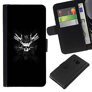HTC One M7 , la tarjeta de Crédito Slots PU Funda de cuero Monedero caso cubierta de piel ( Skull Pirate Face Mask Bones Black White Symbol)