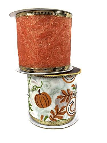 Autumn Theme Wire-Edged Ribbon Bundle: Two Items (Orange Pumpkin)