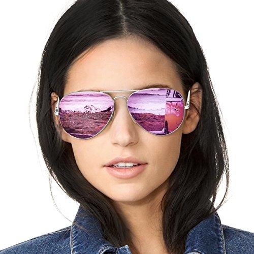 (SODQW Aviator Sunglasses for Women Polarized Mirrored, Large Metal Frame, UV 400 Protection)