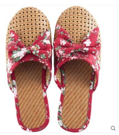 fankou Zapatillas Frescas Transpirables Verano Femenino Granja-Estancia Zapatillas Interiores Bow Tie, 39, Rojo