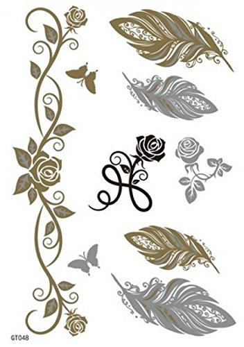 GGSELL GGSELL Metallic Temporary Tattoos Golden Gold & Silve