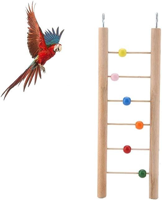 Pssopp Mascota Loro Escalera de Madera Mascotas Que mastican escaleras Escalera de pie Jaula de pájaros Escalada Juguetes Colgantes Juguetes educativos de Loros con Cuentas de Colores o Campanas(2#): Amazon.es: Productos para