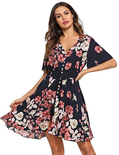Milumia Women's Boho Button Up Split Floral Print Flowy Party Dress X-Large Multicolor-8