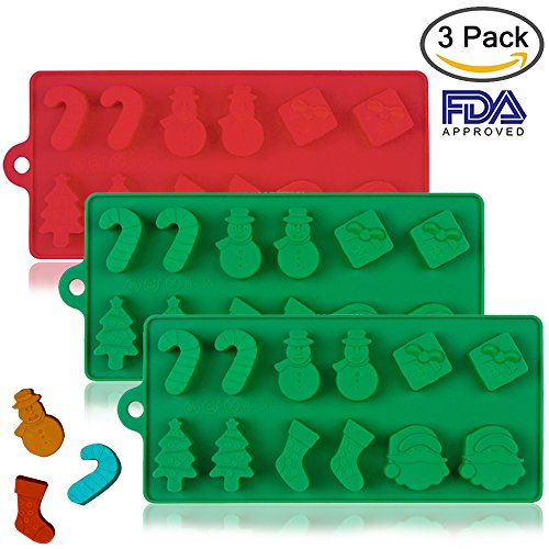 3 Pack Silicone Christmas Cake Chocolate Candy Jelly Molds, DanziX Non-Stick Baking Trays Pan for Party Decoration, Xmas Gift,with Shape of Christmas Tree, Santa Head - Red,Green (Santa Mold Candy)