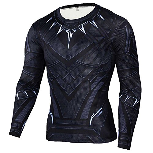 HOCOOL Men's Compression Sports Fitness Tee,Black Panther Runing Shirt 2XL -
