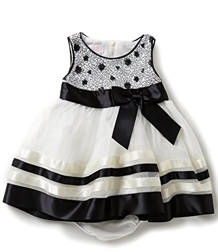 Ribbon Trimmed Jeans - Bonnie Baby Baby Sequin Bodice Dress with Ribbon Trimmed Skirt, Black/White, 6-9