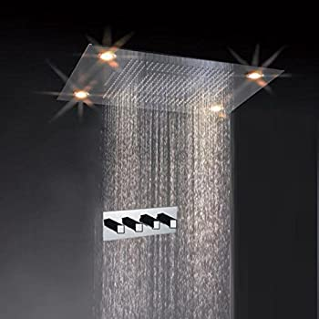 Recessed Rain Shower Head. Cascada Classic Design 31 Inch  600mmx800mm Large Rain Shower Set with Waterfall LED Rectangle
