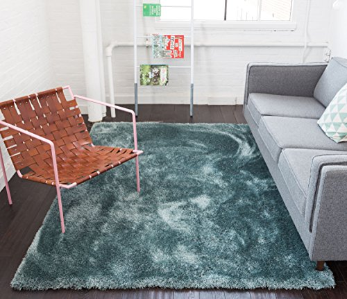 Shimmer Shag Ocean Blue Solid Plain Modern Luster Ultra Thick Soft Plush Area Rug 3 x 5 ( 3'3