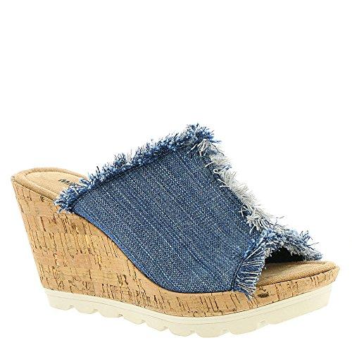 Denim Wedge Sandal - Minnetonka Womens York Wedge Sandal Blue Denim Size 7