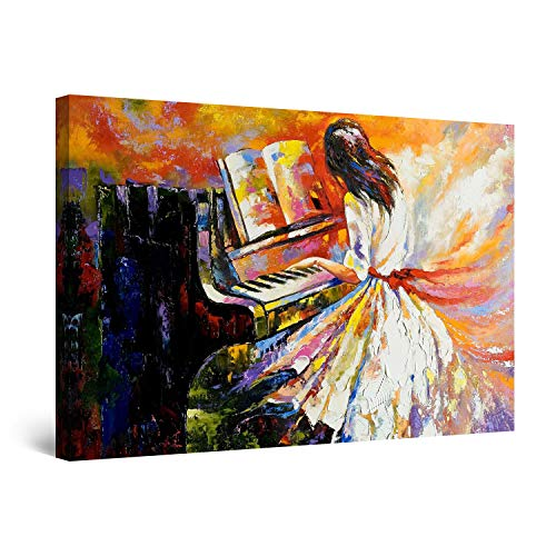 STARTONIGHT Canvas Wall Art - Playing The Piano, Music Framed Wall Decor 32