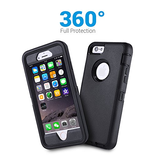 Co-Goldguard Case for iPhone 6s Plus/6 Plus,Heavy Duty 3 in 1 Built-in Screen Protector Cover Dust-Proof Shockproof Drop-Proof Scratch-Resistant Shell for iPhone 6Plus/6sPlus 5.5inch,Black