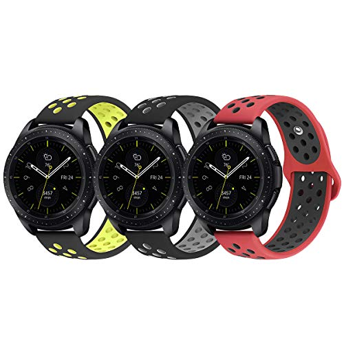 Pack of 3 Galaxy Watch 42mm Bands, KADES 20mm Replacement Strap with Quick Release Pin Compatible for Garmin VivoActive 3, Ticwatch E, Amazfit Bip Smart Watch (Gray Yellow Red)