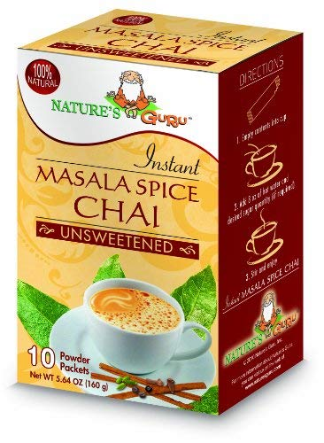 Nature's Guru Instant Masala Spice Chai Tea Drink Mix, Unsweetened, 10 Count Single Serve On-the-Go Drink Packets (Pack of 4)