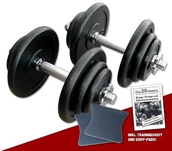 Megafitness-Shop - Kit de 2 mancuernas (20 kg cada una, con agarre y Libro de ejercicios): Amazon.es: Deportes y aire libre