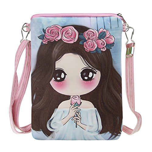 Girls Lovely Cartoon Crossbody Bags PU Leather Keys Cell Phone Holders Purse, Xmas Gift