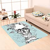 Nalahome Custom carpet kull and Flowers Day of the Dead Mexican Traditional Celebration Symbolic Art es Turquoise White area rugs for Living Dining Room Bedroom Hallway Office Carpet (36''x118'')