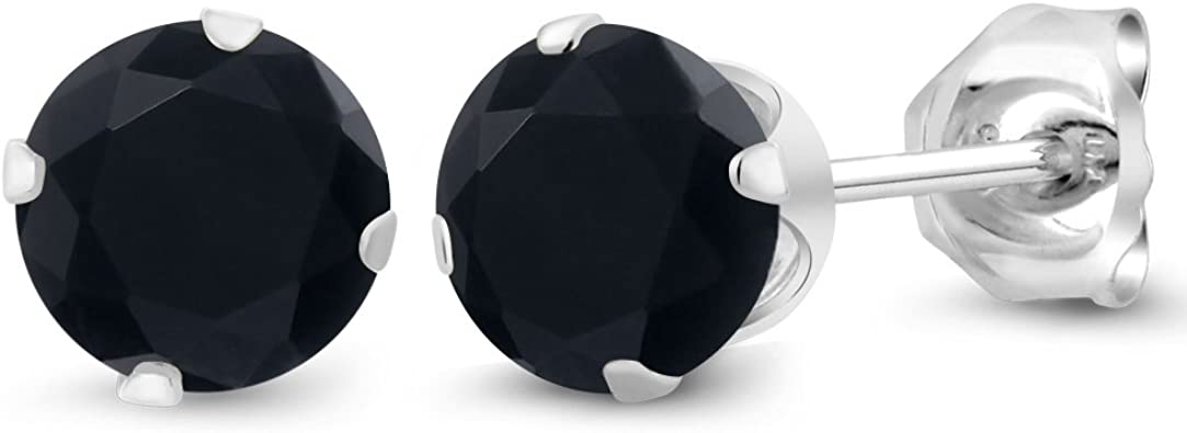 6mm Black Onyx Sterling Silver Stud Earrings