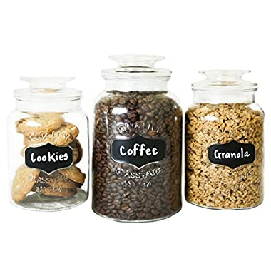 FS Kitchen Round Clear Glass Airtight Lids Chalkboard Canister Jar (Set of 3) with 3 Stick on Labels and Chalk
