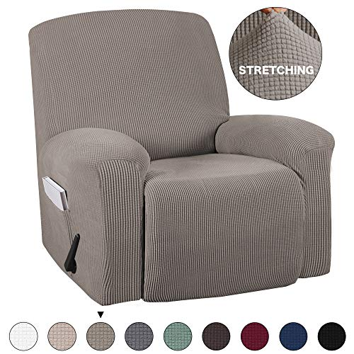Recliner Slip Cover With Pockets 1-Pieces Chair Recliner Cover Suede Furniture Cover Spandex Stretch Slipcover for Recliner Chair Sofa Covers Anti-Slip Slipcover Highly Fitness (Recliner, Taupe) (Chairs On Sale Sofa Leather And)