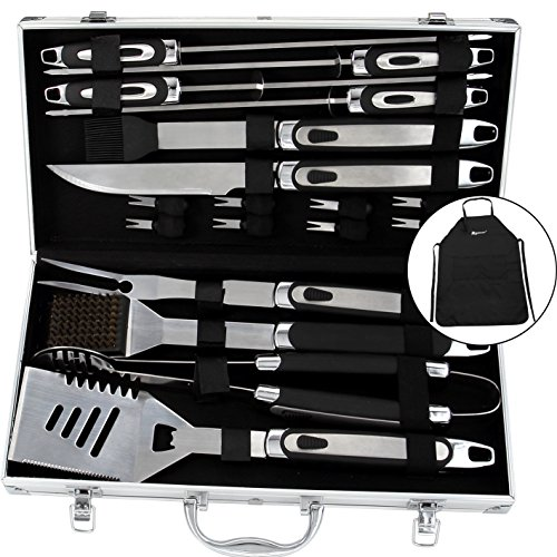 ROMANTICIST BBQ Tools Set - 20PCS BBQ Grill Tools Set w/ Non Slip Handle - Heavy Duty Stainless Steel Barbecue Grilling Utensils in Aluminum Storage Case - Premium Grilling Accessories for Barbecue