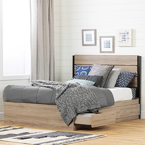 South Shore 12207 Fakto Set-Bed and Headboard, Full Rustic Oak