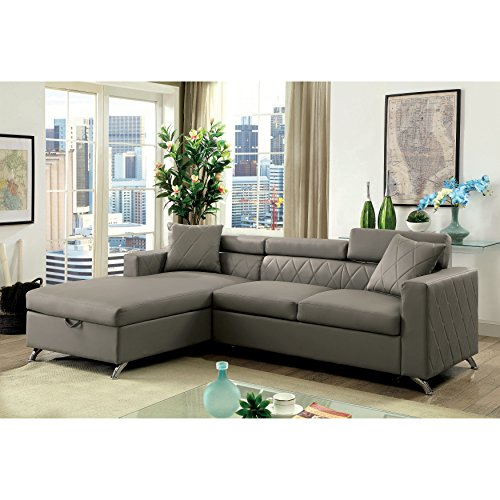 (Furniture of America Klenins Contemporary Tufted Grey Leather Sectional with Pull-Out Bed and Storage Chaise)