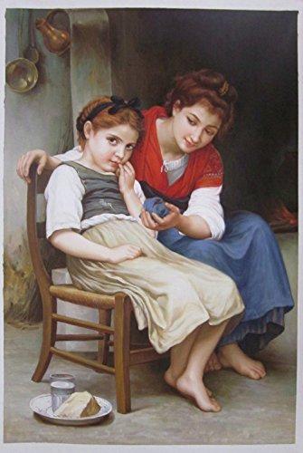 Petite Boudeuse (The Little Sulk) - William Bouguereau high quality hand-painted oil painting reproduction,Two Sisters Portrait fine art,home decor wall art canvas (Reproductions Bouguereau)