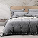 NTBAY 3 Pieces Solid Color Linen Duvet Cover Set with Exquisite Ruffles Design, Breathable (Grey, Queen)