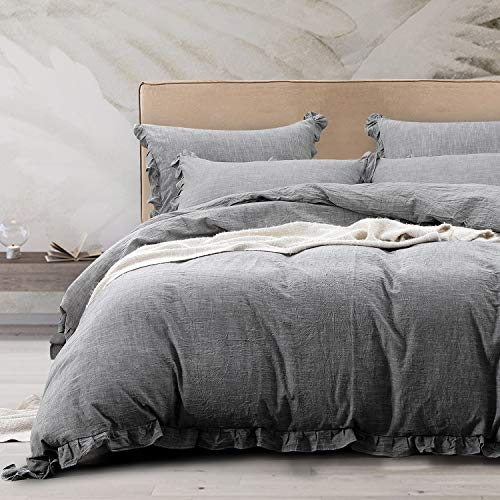 NTBAY 3 Pieces Solid Color Linen Duvet Cover Set with Exquisite Ruffles Design, Breathable (Grey, King)