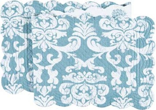 C&F Home 14x51 Inches Quilted Reversible Table Runner, Providence Blue