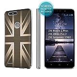 zte zmax british - ZTE Blade Zmax Pro 2/ZTE Sequoia [SlickCandy] [Clear] Slim Fit Gummy TPU Phone Case [Screen Protector] - [British Flag]