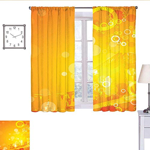 alisoso Orange Kitchen Curtain Abstract Composition with Circles Dots Artistic Energetic Colors Sunburst Curtain Valance Orange Yellow White W55 x L63 (Circle Valance Dot)