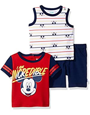 Disney Baby Boys' Mickey Mouse 3-Piece T-Shirt, Tank, and Short Set