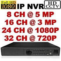 USG Ultra High Definition Security IP NVR: 8Ch @ 5MP, 16Ch @ 3MP, 24Ch @ 1080P, 32Ch @ 720P, ONVIF 2.0, Max 12TB HDD, HDMI + VGA Video Outputs, 1000MB Gigabit RJ45, View Cameras Remotely On Phones + Computers