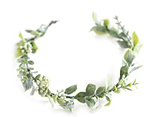 FIDDY898 Artificial Floral Crown Green Flower Crown Floral Bridal Headpiece for Photo Prop-style 1