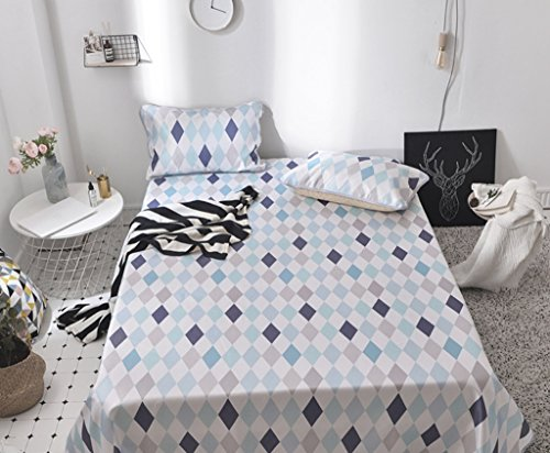 Summer New Folding Ice Silk Pad Three-piece 1.5m1.8m Bed Sheets ZXCV (Color : Blue, Size : 230250cm) by BEIRU