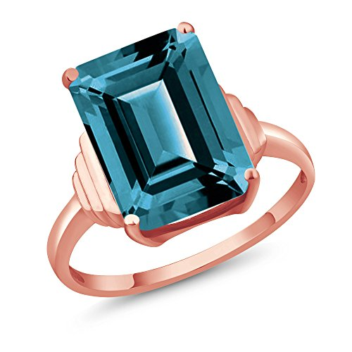 Gem Stone King 8.50 Ct Emerald Cut London Blue Topaz 18K Rose Gold Plated Silver Ring (Size 7)