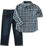 Calvin Klein Little Boys' Woven Shirt Sets, Navy, 7