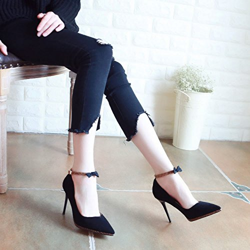 Fine Superficiellement High Printemps Black Au Chaussures Heels Talon Fait Zhudj n8FRUwqaa